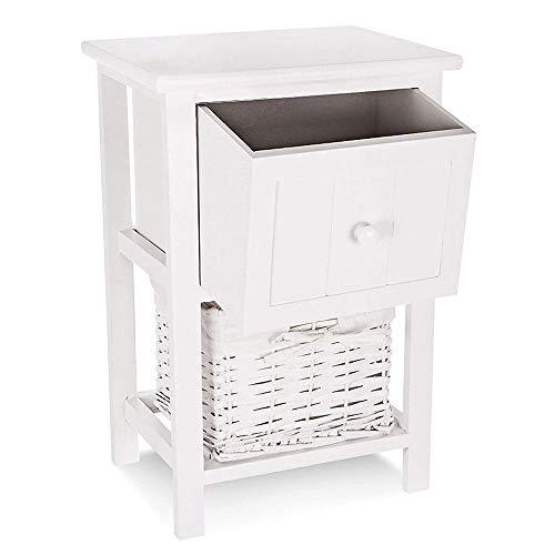Houten Nachtkastje, Slaapkamer Lockers, Shabby Chic stijl van Floor Standing Cabinet of Drawers, met lade en rieten Storage Basket, voor Living Room,White