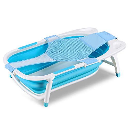 COSTWAY Baby Badewanne höhenverstellbar, Babywanne klappbar, Badewannensitz mit rutschsicherer Fußpolster und Schutzmatte, Neugeborenenbadewanne für Neugeborene, Säuglinge und Kleinkinder (blau)