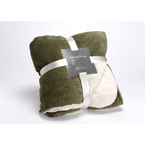 Plaid Mouton, de couleur kaki, 130x170 cm, Amadeus