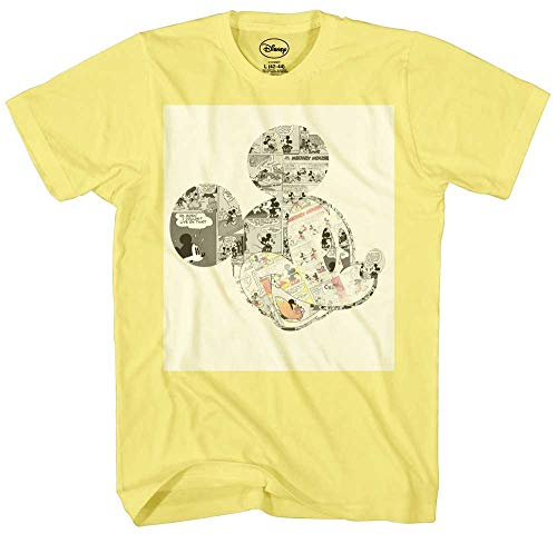 Mickey Mouse Comic Strips Graphic Tee Classic Vintage Disneyland World Mens Adult Graphic Tee T-shirt Apparel (Large)