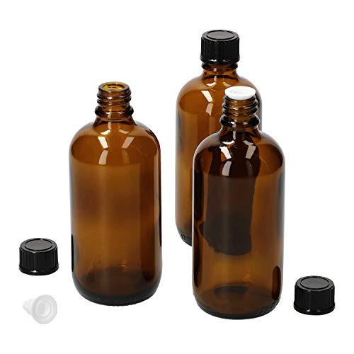 MamboCat 3tlg.-Set Miniaturflasche mit Tropfer I Braunglas 100 ml I kleine Apothekerfläschchen I Tropferflasche I UV-geschützte Medikamenten-Aufbewahrung