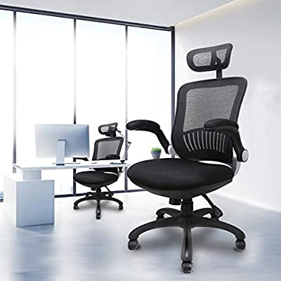 Komene High Back Mesh Office Chair, Komene Ergonomic Desk Chair with Lumbar Support, Adjustable Breathable Backrest, Headrest, Flip Up Arms and Seat Height Computer Task Chair