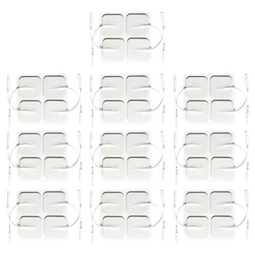 HEALLILY 40 Pcs Tens Unit Pads Remplacement Électrode Pads Body Massager Autocollant Pour Des Dizaines Unités Snap Tens Unit Électrodes (Blanc)