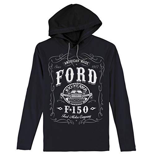 Tee Luv Men's Ford F150 Hooded Long Sleeve Tee Shirt, Large, Black