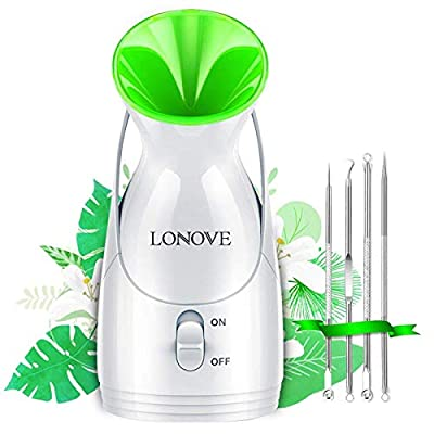 Facial Steamer Nano Ionic - Upgraded Face Steamer Warm Mist Steamer for Face Deep Cleaning Moisturizing Home Sauna, Personal Facial Pore Steamer for Blackheads Acne Cleanse Sinuses Skin Care by LONOVE