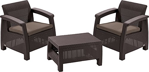 CURVER Allibert M283876 - Conjunto Ratan Resina corfu Balcony Set Marron