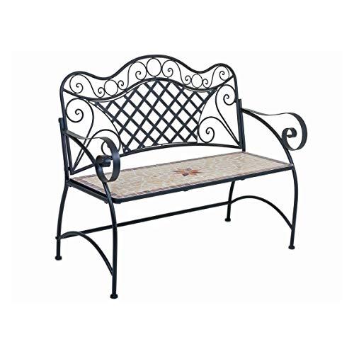 Unbekannt VARILANDO® Mosaik-Gartenbank Armand aus Metall und Keramik Deko-Bank Sitzbank 2-Sitzer-Bank