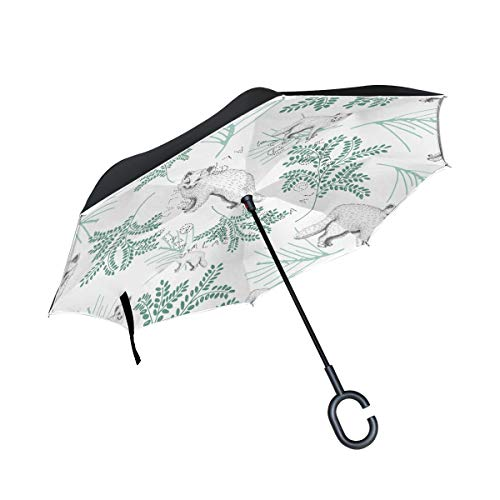 Price comparison product image Mr.Lucien Cute Fox Reverse Umbrella Animal Pattern Double Layer Inverted Umbrella Windproof for Car Outdoor Travel with C Shaped Handle 2020437