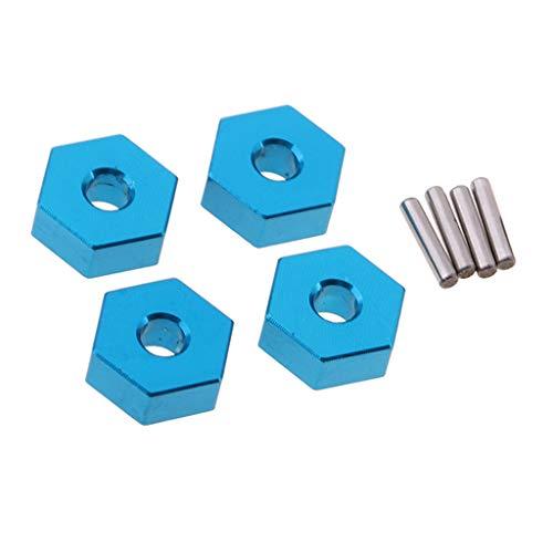 F Fityle Conjunto de Buje de Rueda Hexagonal de Aluminio de 4 Piezas Y Pernos de 12 Mm para Piezas de Actualización de Coche RC 1/10