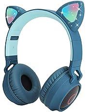 Usoun Kids Bluetooth Hoofdtelefoon, Kat Oor LED Licht Kind Draadloze Hoofdtelefoon met Microfoon, FM Radio/TF-kaart, Opvouwbare Bluetooth Stereo Over-Ear Kids Headsets voor Jongens Meisjes Volwassenen (blauw)