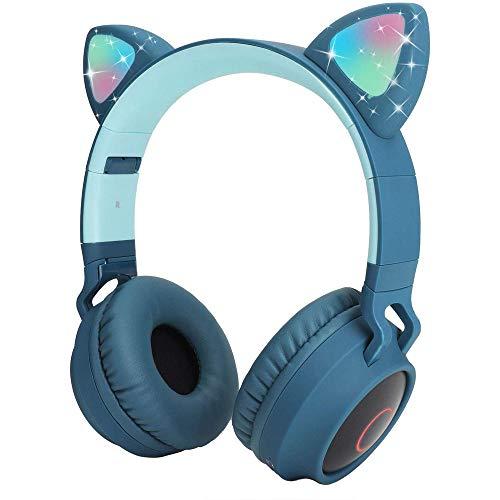 Cartoon Bluetooth-Kopfhörer, Katzenohren, Bluetooth-Kopfhörer mit LED-Licht, SD-Kartenslot, FM-Radio, 3,5 mm Klinkenstecker, kabellos/verkabelt, faltbar, für Jungen und Mädchen und Erwachsene blau