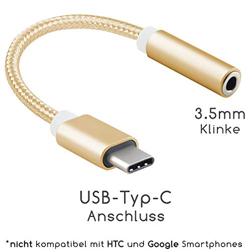 TheSmartGuard - USB-C op jack/aux-kabel/adapter/luidsprekerkabel/hoofdtelefoonkabel Vrouwen compatibel met Huawei, Xiaomi, LG en nog veel meer (behalve HTC/Google/Nokia/Apple) | Kleur: goud