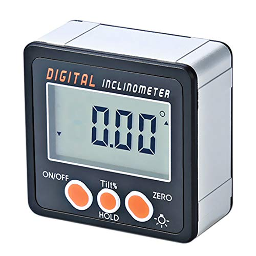 Skyeen Inclinómetro digital 0-360 ° Electronic Prolongador Aluminio Aleación Shell Digital Bevel Box Medidor de ángulo Medidor de base de imanes