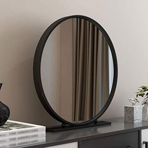 HyiFMY Espejo de vanidad, Maquillaje Espejo de vanidad Espejo nórdico Dorado Redondo de Escritorio Dormitorio mostrador de Escritorio Espejo Hierro Soltero Espejo de Belleza Espejo cosmético