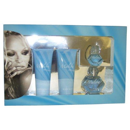 Pamela Anderson W-GS-2400 Malibu par Pamela Anderson pour les femmes - 4 Pc Gift Set 1.7oz spray, lotion pour le corps 4 onces, Body Wash 4 oz, 0,5 oz EDP Splash