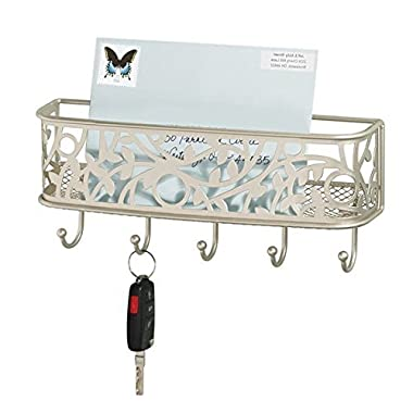 mDesign Mail, Letter Holder, Key Rack Organizer for Entryway, Hallway, Mudroom - Wall Mount, Satin
