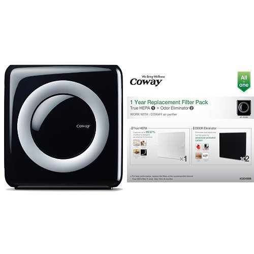 Coway AP-1512HH Mighty Air Purifier with True HEPA and Eco Mode and Coway Replacement Filter Pack for AP1512HH Bundle