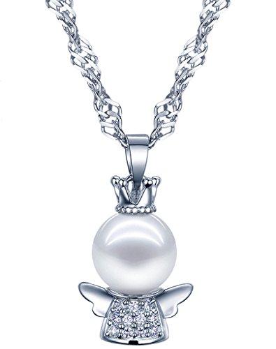 Collana con ciondolo angelo custode per donne e bambine, Yumilok, in argento Sterling 925, perla, zirconi