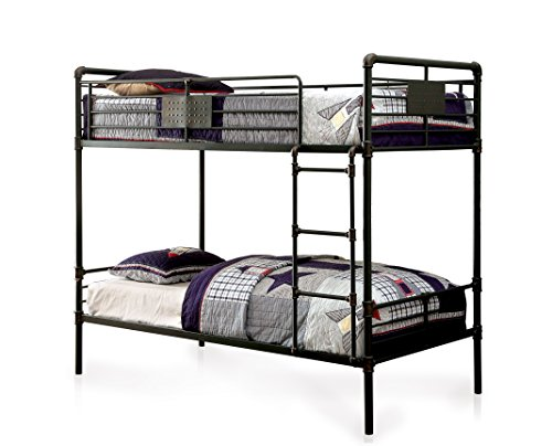 HOMES: Inside + Out Xondro Bed Bunk, Queen/Queen, Antique Black