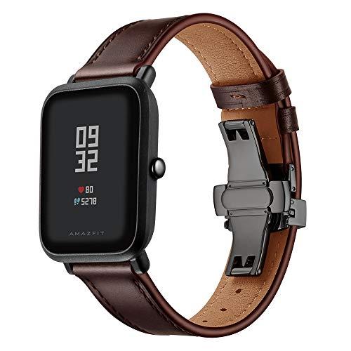 XZZTX Compatible avec Amazfit GTS Bande Watch Bip, 20 mm Véritable Bracelet de Rechange en Cuir pour Galaxy Montre 42mm / Ticwatch 2 / Montre Huawei GT 42mm / Garmin Vivomove HR,Blackbuckle