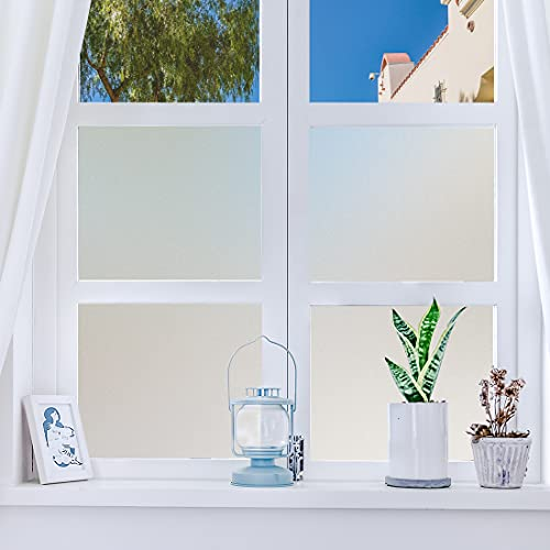 Dktie Fensterfolie, Folie Fenster Sichtschutz, Selbsthaftend Blickdicht Milchglasfolie, Anti-UV Statische Fensterfolien Für Zuhause Badzimmer oder Büro Sichtschutz, 44.5 x 200 cm