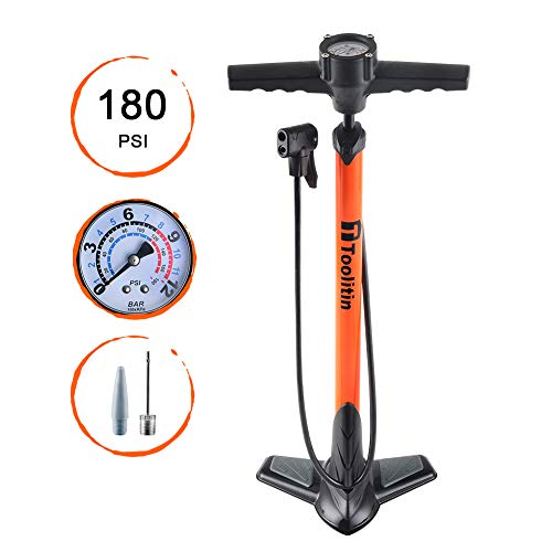 TOOLITIN Bicycle Pump, Ergonomic Portable Bike Pump with Pressure Gauge Bike Tire Pump,Portable Inflator Pump,180 psi,Top Handle Gauge,Compatible with Presta and Schrader Valve
