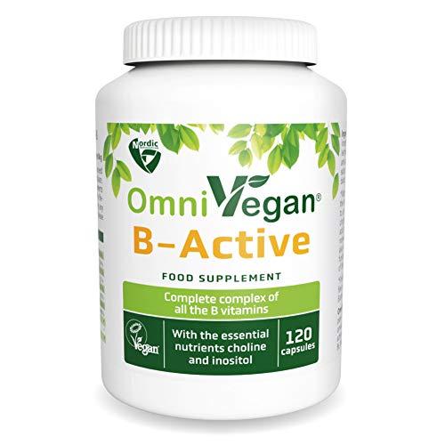 Vegan B-Complex High Strength B1, B5 & Active Forms of B2, B3, B6, folic Acid, B12 Vitamins - 120 Capsules - Nordic Quality