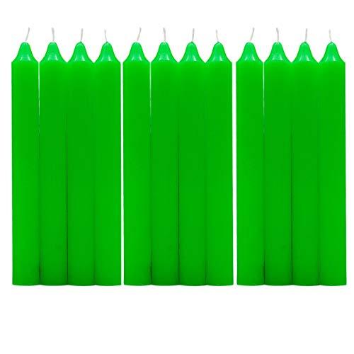 Besch 12 Candele cilindriche 100% paraffina e stoppino in puro cotone senza profumo 17,5 cm (verde, 12 candele)