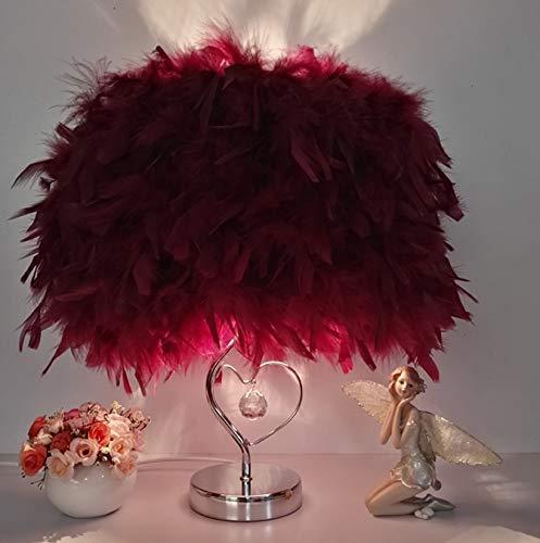 Roze veer LED tafellamp bedlampje slaapkamer exquise tafel Europese stijl rood romantisch wit modern purper lichtroze rood wijnrood warme wijn bruiloft nacht licht 30 * 40 cm B