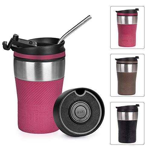 Opard Thermobecher - Travel Mug 210ml, Kaffeebecher to go, Isolierbecher mit Deckel, 100% Auslaufsicher, Trinkbecher aus Edelstahl, Thermo Becher, Autobecher, Kaffee to go (Red-Rot)