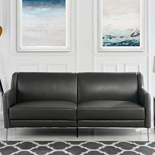 Divano Roma Mid-Century Leather Sofa 77.1' inches, Sleek Simple Living Room Couch (Grey)