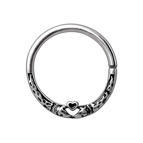 Pierced Owl 316L Stainless Steel Celtic Snake and Heart Seamless Bendable Cartilage Daith Lip Septum Nose Ring