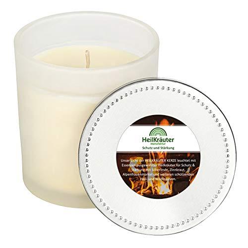 Heilkräuter Manufaktur Bio-Heil-Kräuter-Kerze für Schutz und Stärkung - Handarbeit aus Rapswachs und natürlichen Heilkräutern. Im Glass mit Deckel