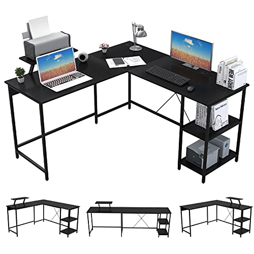 OUTFINE L Shaped Desk Corner Desk Double Computer Desk Home Office Gaming Workstation with Storage Shelves and Monitor Stand