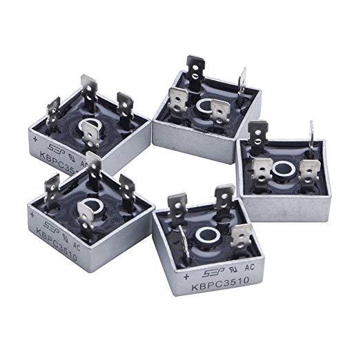 BIlinli 5X 35A KBPC3510 1000V Caja de Metal Rectificador de Puente de diodo de Fases Individuales Nuevo