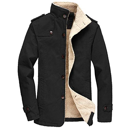 FTIMILD Men's Winter Jackets Fleece Warm Coats Sherpa Lined Parka Thick Outerwear (Black, Medium)