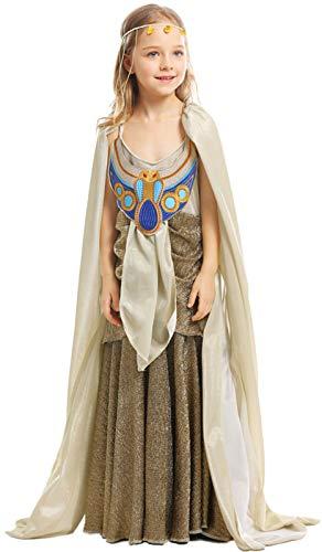 MOMBEBE COSLAND Mädchen Ägyptische Königin Cleopatra Kostüme (XS, Gold)