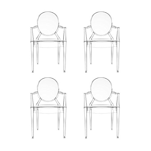 Kartell Louis Ghost Armlehnstuhl 4er Set, glasklar transparent