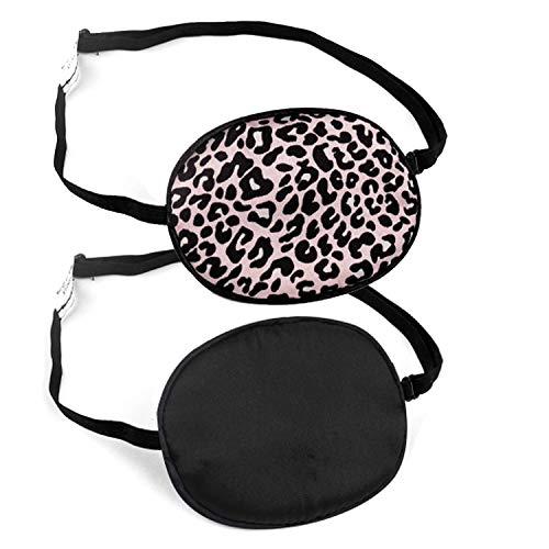 Aifeer 2 Pack zijden ogen patch elastische Lazy oog patches voor volwassenen en kinderen Lazy Eye Amblyopia strabismus, zwart en roze luipaard