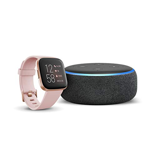 Echo Dot (3rd Gen) - Smart speaker with Alexa - Charcoal Fabric + Fitbit Versa 2 Health & Fitness Smartwatch Petal/Copper Rose