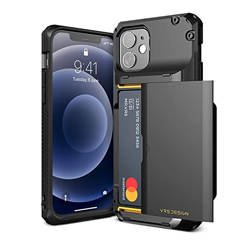 VRS DESIGN Damda Glide Pro Compatible for iPhone 12/12 ProCase, with [4 Cards] Premium Sturdy [Semi Auto] Credit Card Holder Slot Wallet for iPhone 12/12 Pro 6.1 inch(2020)