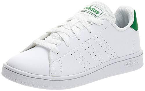 adidas Advantage K, Scarpe da Tennis, Multicolore Ftwbla Verde Gridos 000, 38 2/3 EU