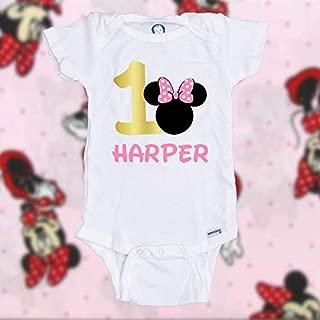 Personalized Customized Minnie Mouse birthday shirt | Minnie Mouse 1st birthday shirt | Minnie Mouse first birthday shirt | Girl birthday shirt | Girl birthday bodysuit/onesie