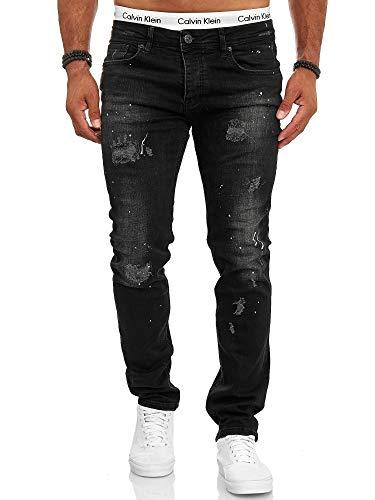 OneRedox Designer Herren Jeans Hose Slim Fit Jeanshose Destroyed Stretch Modell 701 Schwarz 29