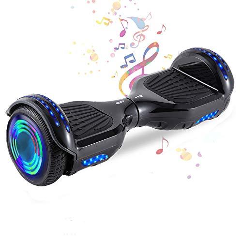HappyBoard 6,5 Hoverboard mit 350W*2 Motorbeleuchtung RGB LED-Leuchten, Bluetooth-Lautsprecher, Self Balance Scooter, E Board Elektro, E Roller Skateboard Elektroroller (S-Schwarz)