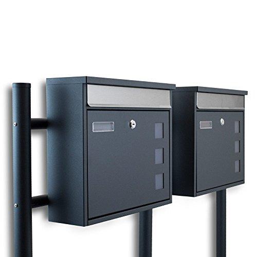 BITUXX® Freistehender Doppelstandbriefkasten Briefkastenanlage Fronteinwurf mit Quadratfenster Dunkelgrau Anthrazit