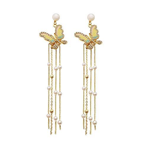 S925Silver Needle Earrings Long Butterfly Flashing Diamond Pearl Earrings Wild Super Fairy Tassel Earrings Female