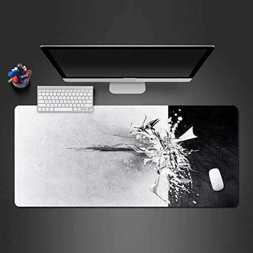 LZDAYK Alfombrilla de ratón para juegos 700x300x3 mm Arte mecánico en blanco y negro individual Alfombrilla de mesa de juego de extensión de gran tamaño Alfombrilla de goma antideslizante con borde de