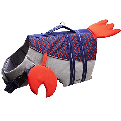 azuza Dog Life Jacket Safety Dog Life Vests for Swimming with Reflective Strips and Rescue Handle High Buoyancy Pet Swimsuit Lifesaver Coat for Medium and Large Dogs, Cute Lobster Design