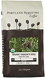 Organic Coffee Beans by Portland Roasting Coffee, Tanager's Song Blend Medium Roast, USDA Certified Organic, Carbon Neutral and Award Winning Roasters, 1 12oz. Bag Whole Coffee Beans